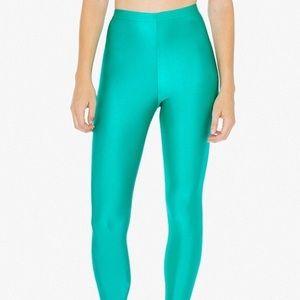 American Apparel Green Shiny Nylon Tricot Leggings